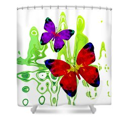 Butterfly Duet - Harmony Shower Curtain