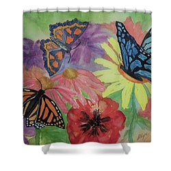 Shower Curtain featuring the painting Butterfly Garden by Ellen Levinson