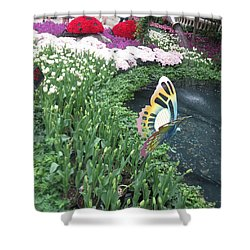 Shower Curtain featuring the photograph Butterfly Garden Ladybug Flowers Green Theme by Navin Joshi