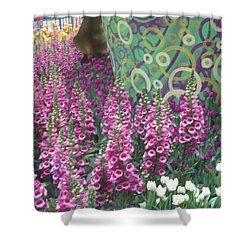 Shower Curtain featuring the photograph Butterfly Garden Purple White Flowers Painted Wall by Navin Joshi