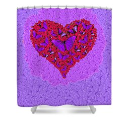 Butterfly Heart Shower Curtain by Alixandra Mullins