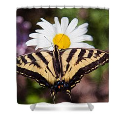 Shower Curtain featuring the painting Butterfly Kisses by Omaste Witkowski