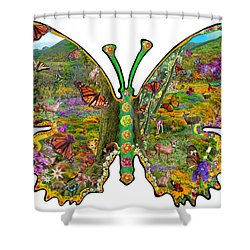 Butterfly Meadow Green Shower Curtain by Alixandra Mullins