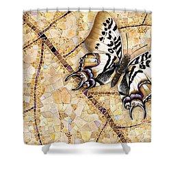 Butterfly Mosaic 01 Elena Yakubovich Shower Curtain