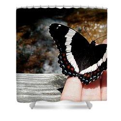 Butterfly On Fingertips Shower Curtain
