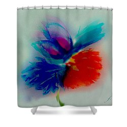 Shower Curtain featuring the digital art Butterfly On Flower Mixed Media by Frank Bright