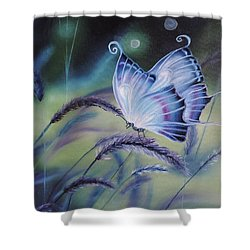 Shower Curtain featuring the painting Butterfly Series #3 by Dianna Lewis