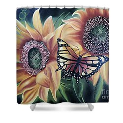 Shower Curtain featuring the painting Butterfly Series 5 by Dianna Lewis