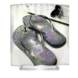 Butterfly Summer Shower Curtain by Angela DeFrias