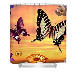 Butterfly Sunset Shower Curtain by Alixandra Mullins