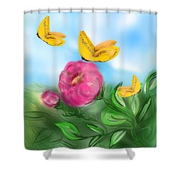 Shower Curtain featuring the digital art Butterfly Triplets by Christine Fournier