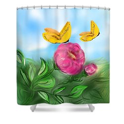 Shower Curtain featuring the digital art Butterfly Twins by Christine Fournier