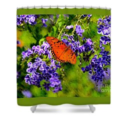 Shower Curtain featuring the photograph Butterfly's Breakfast by Darla Wood