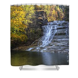 Buttermilk Falls Autumn Shower Curtain by Colin D Young