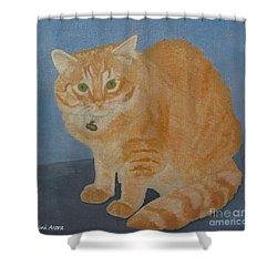 Butterscotch The Cat Shower Curtain by Mini Arora