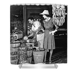 Buying Fruit And Vegetables Shower Curtain by Underwood Archives