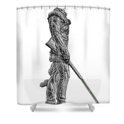 Bw Of Mountaineer Statue Shower Curtain