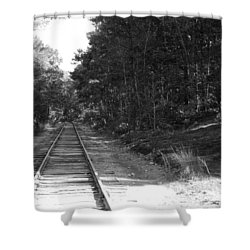 Bw Railroad Track To Somewhere Shower Curtain