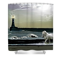 By The Light Of The Silvery Moon Shower Curtain by Morag Bates