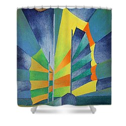 Shower Curtain featuring the painting By The Light Of The Silvery Moon by Tracey Harrington-Simpson