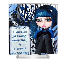 Shower Curtain featuring the painting By The Moonlight by Oddball Art Co by Lizzy Love