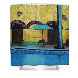 By The Poolside Shower Curtain by Jeanne Fischer