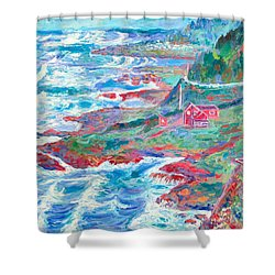 By The Sea Shower Curtain by Kendall Kessler