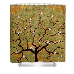 By The Tree Re-painted Shower Curtain