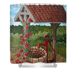Shower Curtain featuring the painting By The Water Pump by Katherine Young-Beck
