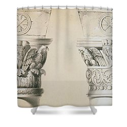Byzantine Capitals From Columns In The Nave Of The Church Of St Demetrius In Thessalonica Shower Curtain by Charles Felix Marie Texier