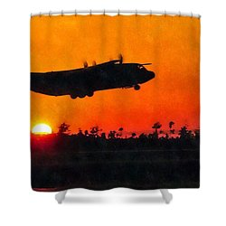 C-130 Sunset Shower Curtain