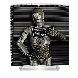 C-3po Mug Shot Shower Curtain by Tony Rubino