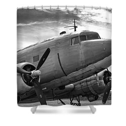 C-47 Skytrain Shower Curtain by Guy Whiteley