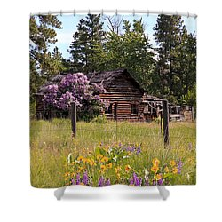 Shower Curtain featuring the photograph Cabin And Wildflowers by Athena Mckinzie