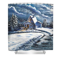 Cabin At Night Shower Curtain