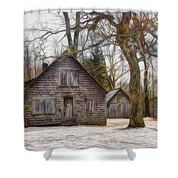 Cabin Dream Shower Curtain by Debra and Dave Vanderlaan