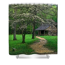 Shower Curtain featuring the photograph Cabin In Cades Cove by Rodney Lee Williams