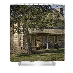 Cabin In The Wood Shower Curtain by Heather Applegate