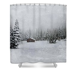 Cabin In The Woods-textured Shower Curtain