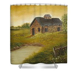 Shower Curtain featuring the painting Cabin  by Kathy Sheeran