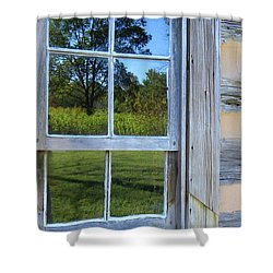Shower Curtain featuring the photograph Cabin Reflections by Larry Bishop