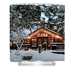 Cabin With Christmas Lights Shower Curtain