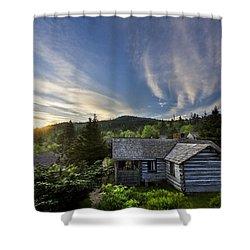 Cabins At Dawn Shower Curtain by Debra and Dave Vanderlaan