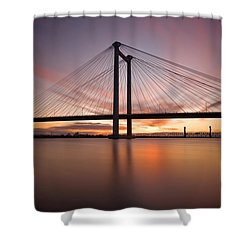 Shower Curtain featuring the photograph Cable Bridge by Ronda Kimbrow