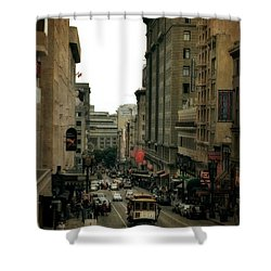 Cable Car In The City Shower Curtain