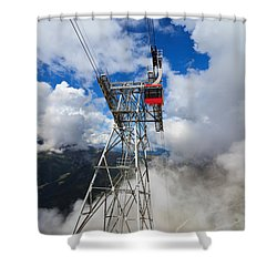 cableway in Italian Dolomites Shower Curtain by Antonio Scarpi