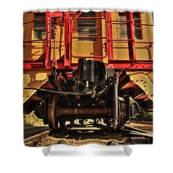 Caboose On The Loose Shower Curtain by James Eddy