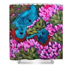 Cactus Flower Blue Bird Dream Shower Curtain