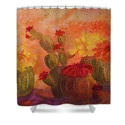 Cactus Garden Shower Curtain by Ellen Levinson