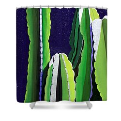 Cactus In The Desert Moonlight Shower Curtain